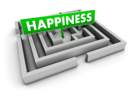 Happiness concept with labyrinth and green goal sign on white background  photo