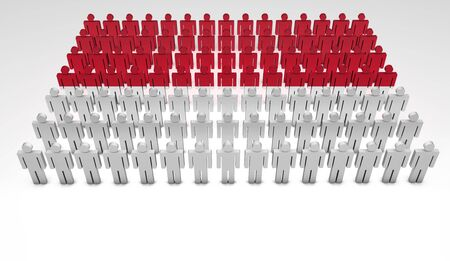 Parade of 3d people forming a top view of Monaco flag  With copyspace Stock Photo - 15835957