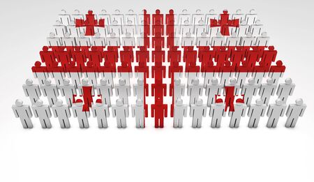 Parade of 3d people forming a top view of Georgia flag  With copyspace Stock Photo - 15935481