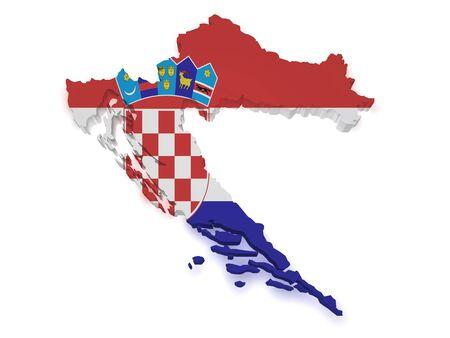 bandera de croacia: 3d Forma de Croacia mapa con bandera aislado sobre fondo blanco