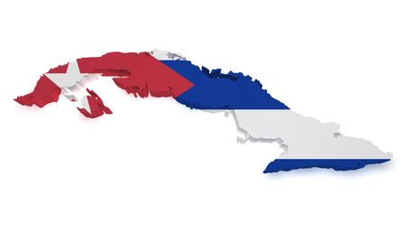 cuban culture: Shape 3d of Cuba map with flag isolated on white background