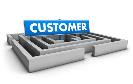 Customer concept with labyrinth and blue goal sign on white background  photo