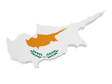 Shape 3d of Cyprus map with flag isolated on white background. photo