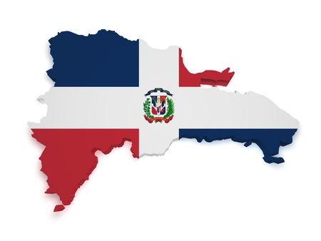 Shape 3d of Dominican Republic map with flag isolated on white background.