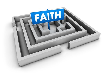 Faith concept with labyrinth and blue goal sign on white background. photo