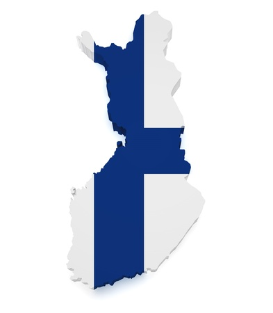 finland flag: Shape 3d of Finland map with flag isolated on white background. Stock Photo