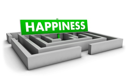 Happiness concept with labyrinth and green goal sign on white background. photo