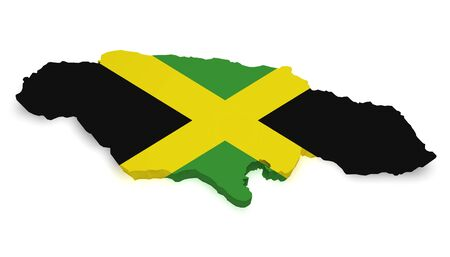 jamaican flag: Shape 3d of Jamaica map with flag isolated on white background.