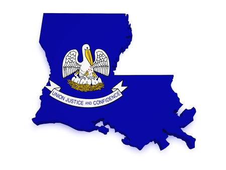 Shape 3d of Louisiana map with flag isolated on white background. photo