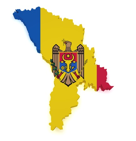 moldovan: Shape 3d of Moldova map with flag isolated on white background.