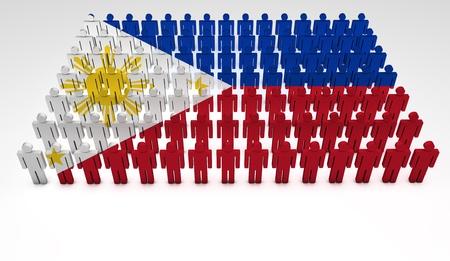 Desfile de las personas 3d que forman una vista desde arriba de la bandera de Filipinas. Con copyspace.