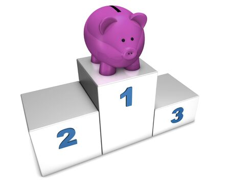 cheapness: 3d top position podium with piggybank for concept: champions of saving or discount.