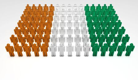 Parade of 3d people forming a top view of Ivory Coast flag  With copyspace  photo