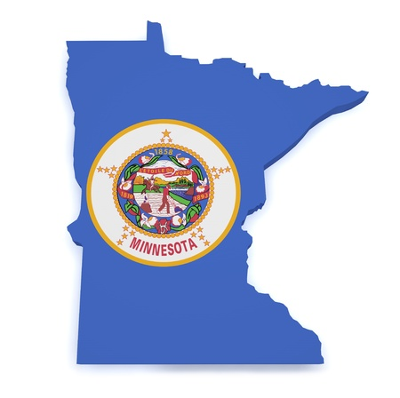 Shape 3d of Minnesota map with flag isolated on white background  photo
