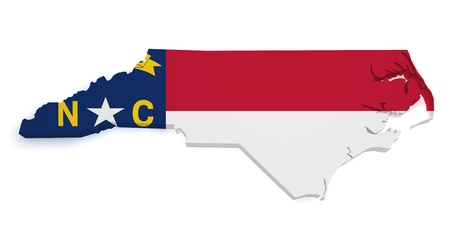 Shape 3d of North Carolina map with flag isolated on white background