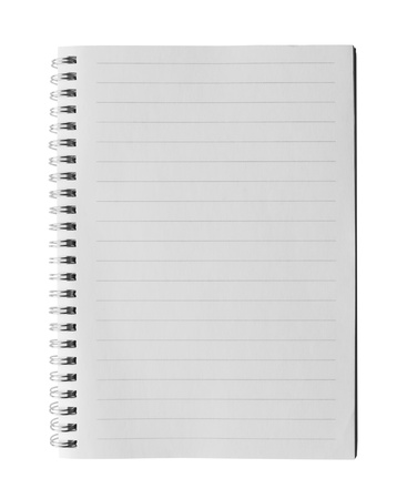 copybook: Top view of a ruled notebook or ring binder with isolated on white background