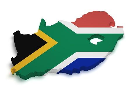 continente africano: 3d Forma de Sudáfrica mapa con bandera aislado sobre fondo blanco