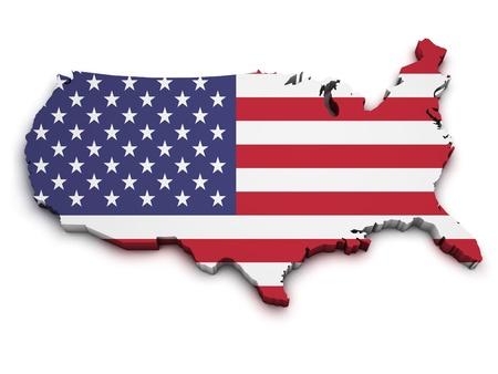 continente americano: 3d Forma de los Estados Unidos de Am�rica Mapa de la bandera aislado sobre fondo blanco