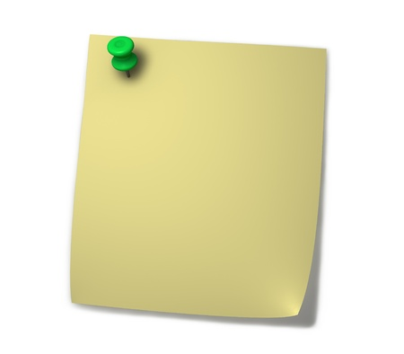 drawing pins: Blank yellow post-it for notes with green drawing pin and shadow isolated on white background