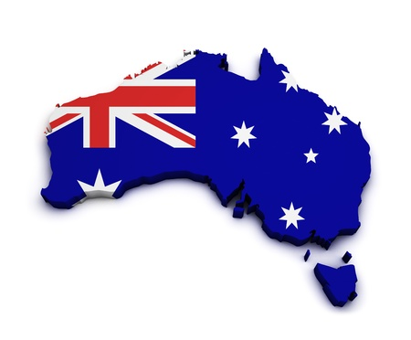 sidney: Shape 3d of Australia map with flag isolated on white background  Stock Photo