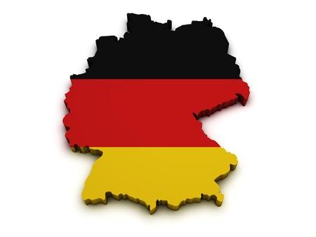 deutschland karte: Form 3d der Deutschland-Karte mit Flagge auf wei�em Hintergrund
