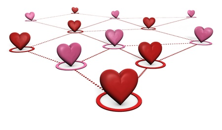 Love, lovers and social network concept with red and pink hearts connected by dotted lines on white background  photo