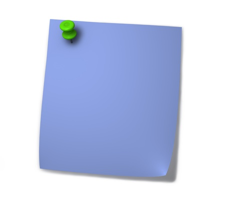 Blank blue post-it for notes with green drawing pin and shadow isolated on white background