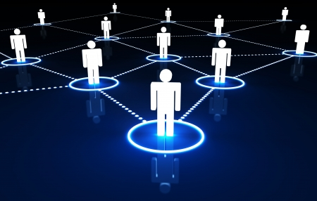 Internet and social network concept with connection of 3d people by dotted neon lines on dark blue background  photo