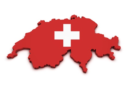 Shape 3d of Swiss map with flag isolated on white background