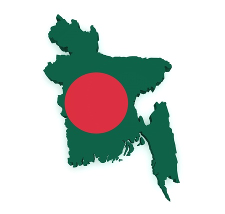 national border: Shape 3d of Bangladesh map with flag isolated on white background  Stock Photo