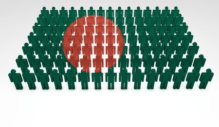 national cultures: Parade of 3d people forming a top view of Bangladesh flag  With copyspace  Stock Photo