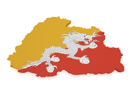 Shape 3d of Bhutan map with flag isolated on white background Stock Photo - 16664377