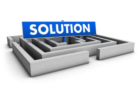 Business solution concept with labyrinth and blue goal sign on white background  photo