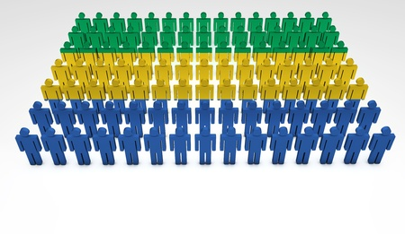 gabon: Parade of 3d people forming a top view of Gabon flag  With copyspace  Stock Photo