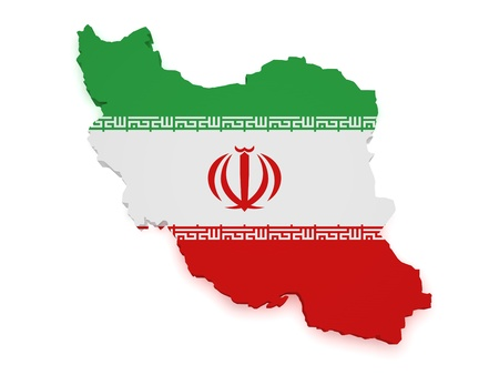 Shape 3d of Iran map with flag isolated on white background Stock Photo - 16664353