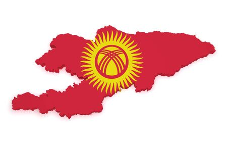 Shape 3d of Kyrgyzstan map with flag isolated on white background  Stock Photo - 16664364