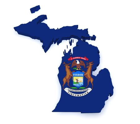 Shape 3d of Michigan map with flag isolated on white background. photo