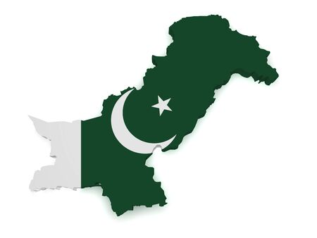 pakistani: Shape 3d of Pakistan map with flag isolated on white background. Stock Photo