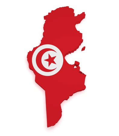 territories: Shape 3d of Tunisia map with flag isolated on white background. Stock Photo
