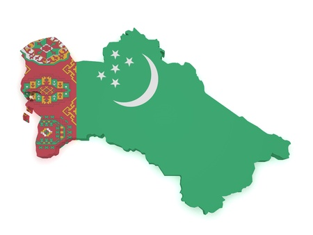 turkmenistan: Shape 3d of Turkmenistan map with flag isolated on white background. Stock Photo