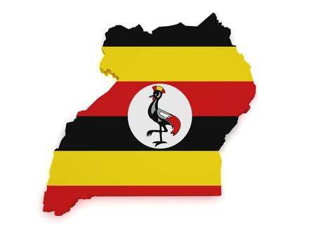 uganda: Shape 3d of Uganda map with flag isolated on white background.