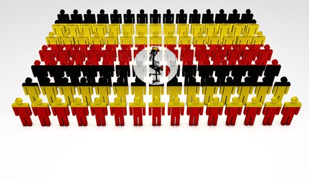uganda: Parade of 3d people forming a top view of Uganda flag. With copyspace. Stock Photo
