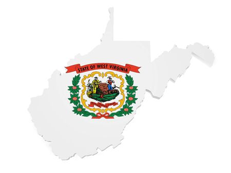 Shape 3d of West Virginia map with flag isolated on white background. photo
