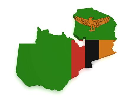 zambian: Shape 3d of Zambia map with flag isolated on white background.