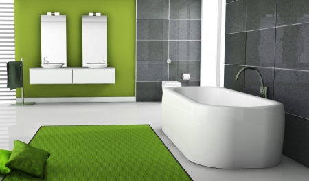 Home inter of a modern green bathroom with contemporary bathtub design, black granite tiles, pillows and white floor, 3d rendering  Stock Photo - 16765615