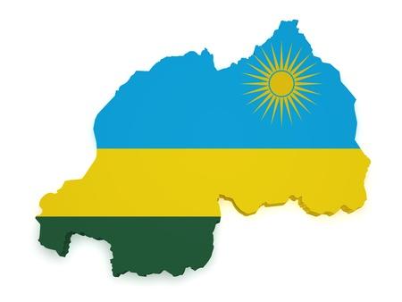 Shape 3d of Rwanda map with flag isolated on white background Stock Photo - 16765607
