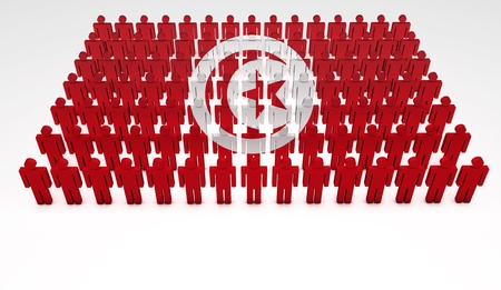 Parade of 3d people forming a top view of Tunisia flag  With copyspace  photo
