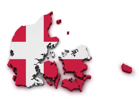 denmark flag: Shape 3d of Denmark map with flag isolated on white background  Stock Photo