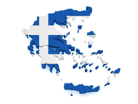 greek flag: Shape 3d of Greece map with flag isolated on white background  Stock Photo
