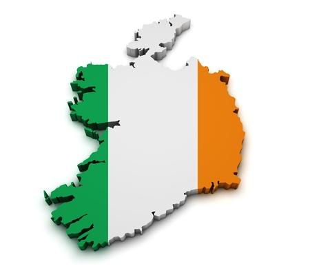 ireland map: Shape 3d of Ireland map with flag isolated on white background